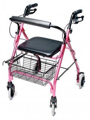 4 Wheel Rollator Lumex Walkabout Lite Pink Lightweight Aluminum RJ4300P Each/1 - 43333800