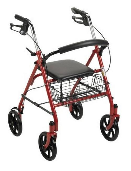 4 Wheel Rollator McKesson 31 to 37 Inch Red Folding Steel 31 to 37 Inch 146-10257RD-1 Each/1
