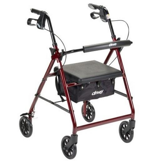 4 Wheel Rollator McKesson 32 to 37 Inch Red Folding Aluminum 32 to 37 Inch 146-R726RD Each/1