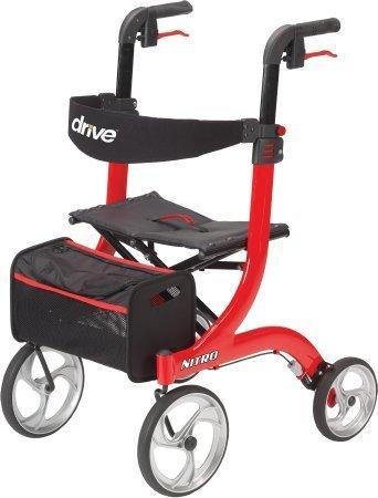 4 Wheel Rollator Nitro Red Adjustable Height Aluminum RTL10266 Each/1 - 64733800