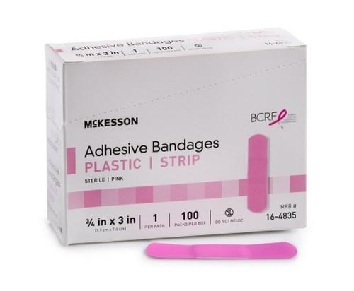 Adhesive Strip McKesson 3/4 X 3 Inch Plastic Rectangle Pink Sterile 16-4835 Each/1