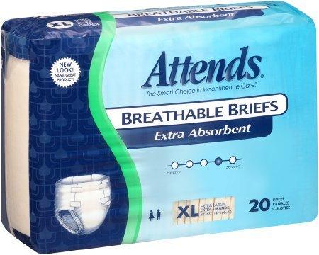 Adult Incontinent Brief Attends Tab Closure X-Large Disposable Moderate Absorbency BRBX40 BG/20