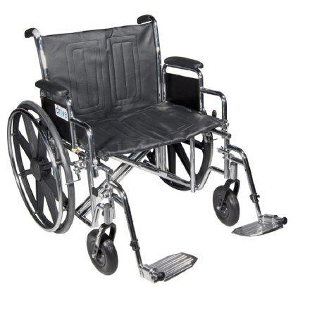 Bariatric Wheelchair Sentra EC Heavy Duty Padded Removable Full Arm Mag Black 24 Inch 450 lbs. STD24ECDFA-SF Each/1 - 47534209