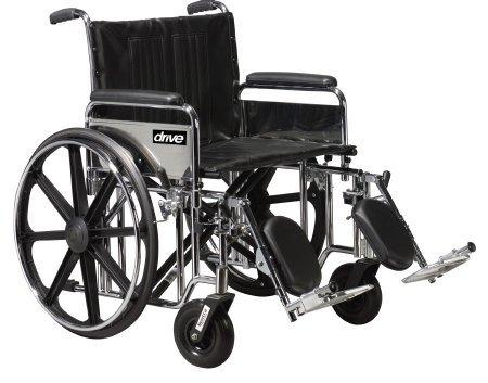 Bariatric Wheelchair Sentra Extra Heavy Duty Padded Removable Full Arm Mag Black 20 Inch 500 lbs. STD20DFA-SF Each/1