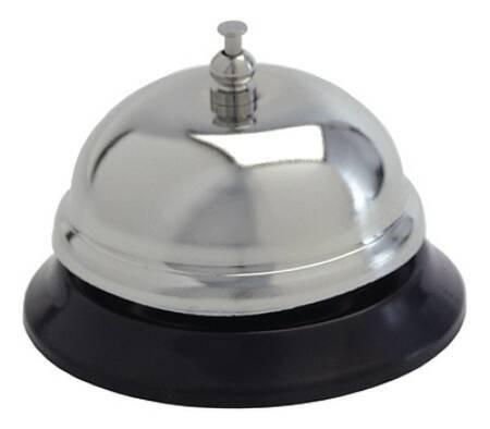 Call Bell Push Button Polished Steel / Black Vinyl Base 3 Inch Diameter 3161 Each/1