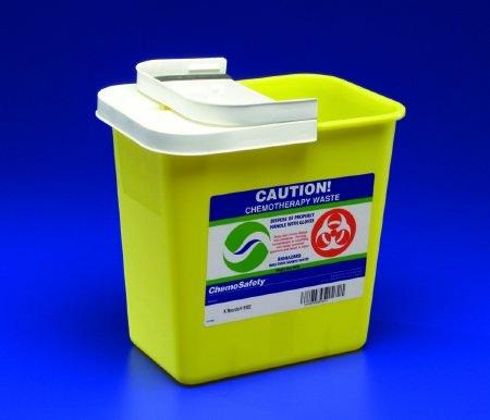 Chemotherapy Sharps Container SharpSafety 1-Piece 17.75H X 11W X 15.5D Inch 8 Gallon Yellow Base Sliding Lid 8985PG2 Case/10
