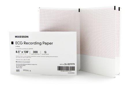 ECG Recording Paper McKesson 8-1/2 Inch X 138 Foot Z-Fold 26-007979 Case/3000
