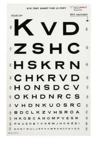 Eye Test Chart McKesson 10 Feet Snellen 476657 Each/1
