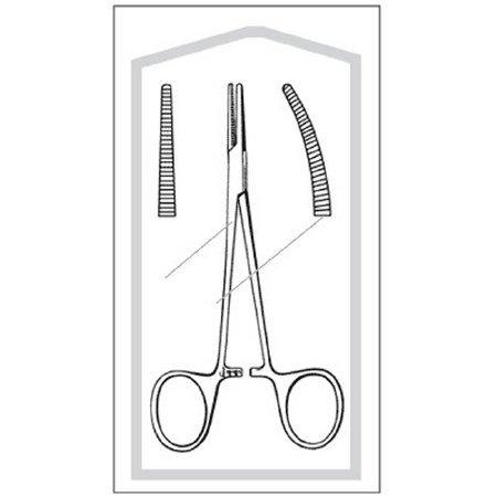 Hemostatic Forceps Econo Halsted-Mosquito 5 Inch Floor Grade Stainless Steel Sterile Ratchet Lock Finger Ring Handle Curved Serrated 96-2658 Case/100