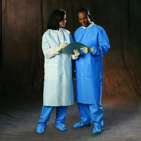 Lab Coat Basic Plus Blue Large Long Sleeve Knee Length 10032 Case/25