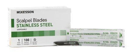 McKesson Brand Surgical Blade Stainless Steel Size 10 Sterile Disposable 1640 Box/100