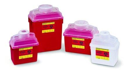 Multi-purpose Sharps Container 1-Piece 11.5H X 12.5W X 8.5D Inch 14 Quart Red Base Funnel Lid 305480 Case/20