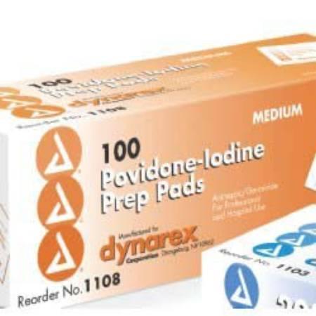 PVP Prep Pad Dynarex Povidone Iodine, 10\% Individual Packet Medium 1108 Box/100