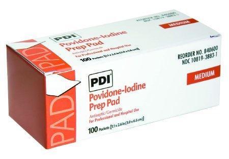 PVP Prep Pad PDI Povidone Iodine, 10\% Individual Packet 1-3/16 X 2-5/8 Inch NonSterile B40600 Box/100