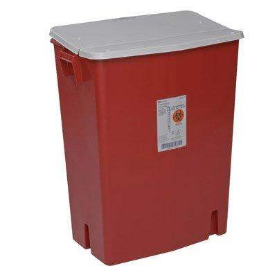 Perfusion Waste Container SharpSafety Nestable 27.5 H X 15.25 D X 21.25 W Inch 30 Gallon Red Base / White Lid Gasketed Hinged Lid, Sealed 8930SA Case/3