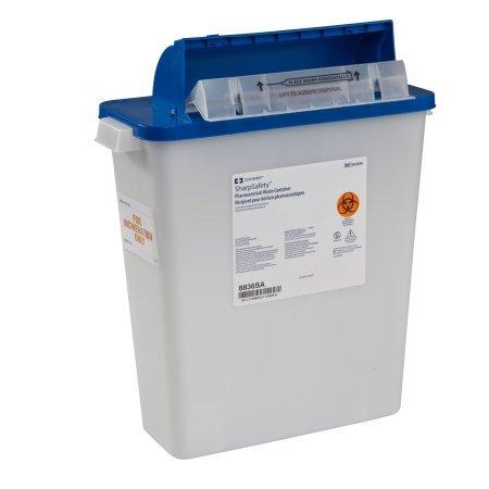 Pharmaceutical Waste Container PharmaSafety Nestable 16-1/2H X 13-3/4W X 6D Inch 3 Gallon White Base / Blue Lid Horizontal Entry Counterbalance Lid 8836SA Each/1