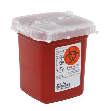 Phlebotomy Sharps Container SharpSafety 4.25 H X 4.25 D X 4.5 W Inch 1 Pint Red Base / Transparent Lid Vertical Entry Lid 8901SA Case/100