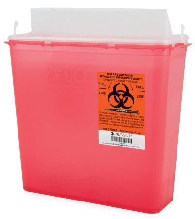 Sharps Container Prevent 2-Piece 10.75H X 10.5W X 4.75D Inch 5 Quart Red Base Horizontal Entry Lid 2262 Box/10