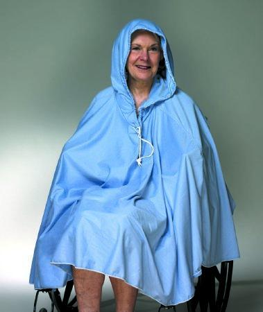 Shower Poncho Blue One Size Fits Most 23-1/2 Inch Back Front Opening 909120 Each/1