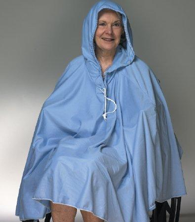 Shower Poncho with Hood Blue One Size Fits Most 23-1/2 Inch Back Front Opening 909150 Each/1