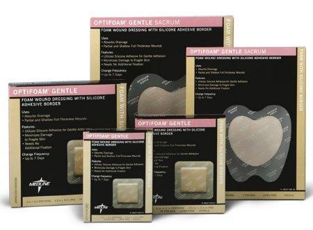 Silicone Foam Dressing Optifoam Gentle 3 X 3 Inch Square Adhesive with Border Sterile MSC2033EP Each/1