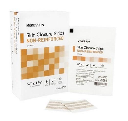 Skin Closure Strip McKesson 1/4 X 1-1/2 Inch Nonwoven Material Flexible Strip Tan 3002 Box/50