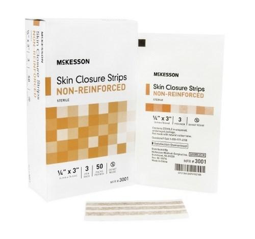 Skin Closure Strip McKesson 1/4 X 3 Inch Nonwoven Material Flexible Strip Tan 3001 Box/50