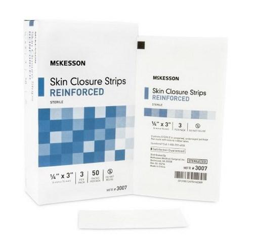 Skin Closure Strip McKesson 1/4 X 3 Inch Nonwoven Material Reinforced Strip White 3007 Box/50