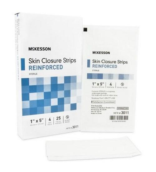 Skin Closure Strip McKesson 1 X 5 Inch Nonwoven Material Reinforced Strip White 3011 Box/25