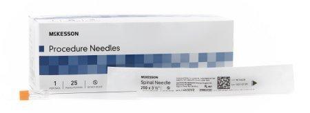 Spinal Needle McKesson Quincke 25 Gauge 3.5 Inch 4632V2 Case/100