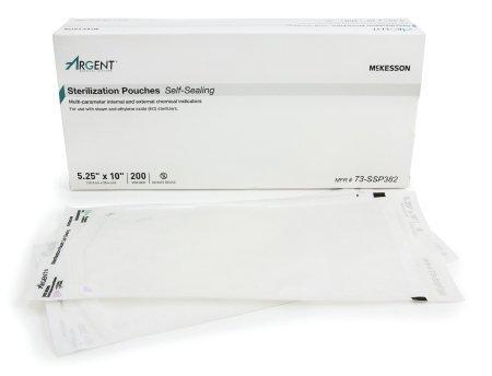 Sterilization Pouch McKesson Argent Sure-Check EO Gas / Steam 5.25 X 10 Inch Transparent / Blue Self Seal Paper / Film 73-SSP382 Box/200