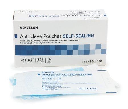 Sterilization Pouch McKesson EO Gas / Steam 3.5 X 5 Inch Transparent Blue / White Self Seal Paper / Film 16-6420 Case/4000