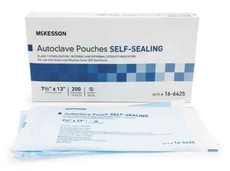 Sterilization Pouch McKesson EO Gas / Steam 7.5 X 13 Inch Transparent Blue / White Self Seal Paper / Film 16-6425 Case/1000