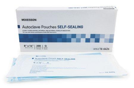 Sterilization Pouch McKesson EO Gas / Steam 8 X 16 Inch Transparent Blue / White Self Seal Paper / Film 16-6426 Case/1000