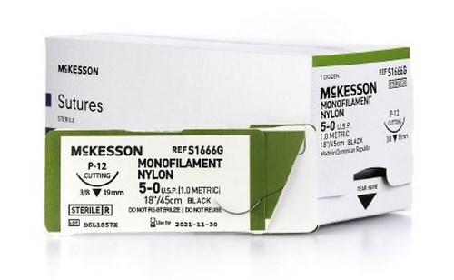 Suture with Needle McKesson Nonabsorbable Monofilament Nylon Size 5-0 18 Inch Suture 1-Needle 19 mm 3/8 Circle Reverse Cutting Needle S1666G Box/12