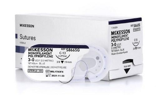 Suture with Needle McKesson Nonabsorbable Monofilament Polypropylene Size 3-0 18 Inch Suture 1-Needle 19 mm 3/8 Circle Reverse Cutting Needle S8665G Box/12