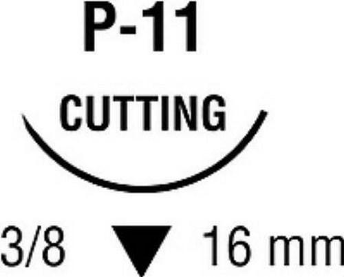 Suture with Needle Monosofª~Dermalonª Nonabsorbable Black Monofilament Nylon Size 5-0 18 Inch Suture 1-Needle 16 mm 3/8 Circle Premium Reverse Cutting Needle SN5668G Box/12