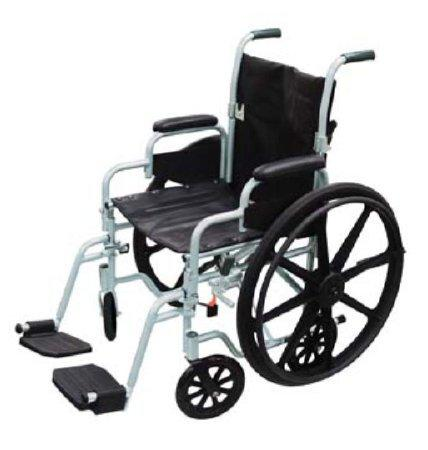 Transport Wheelchair Poly-Fly High Strength Lightweight Padded Fixed Height Full Arm Mag Black 20 Inch 250 lbs. TR20 Each/1 - 56364200