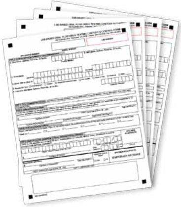 Urine 2 Part Result Form with Template 2430P Pack/25