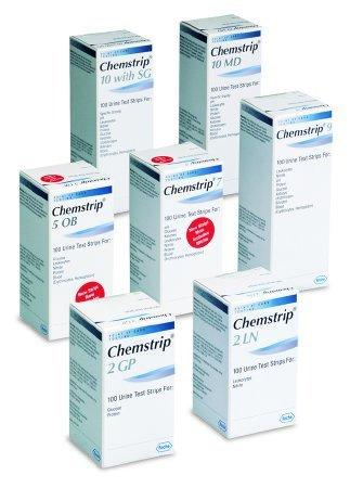 Urine Reagent Strip Chemstrip 10 MD Glucose, Bilirubin, Ketone, Specific Gravity, Blood, pH, Protein, Urobilinogen, Nitrite, Leukocytes 100 Strips 03260763160 Box/100