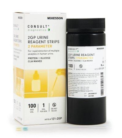 Urine Reagent Strip McKesson Consult Protein and Glucose 100 Strips 121-2GP VL/100
